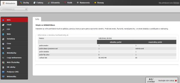 Admin rozhranie vo Websupporte